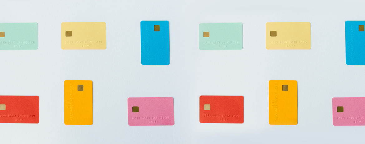 Colourful cards on pale backdrop
